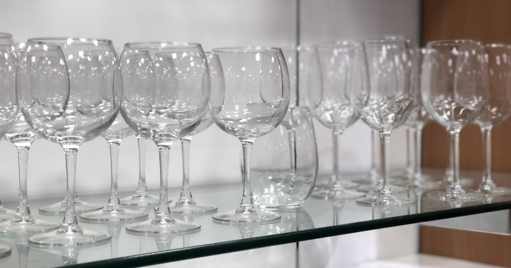 wine glasses on display in store