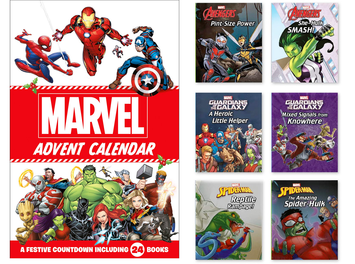 Marvel storybook advent calendar with 6 included books next to it