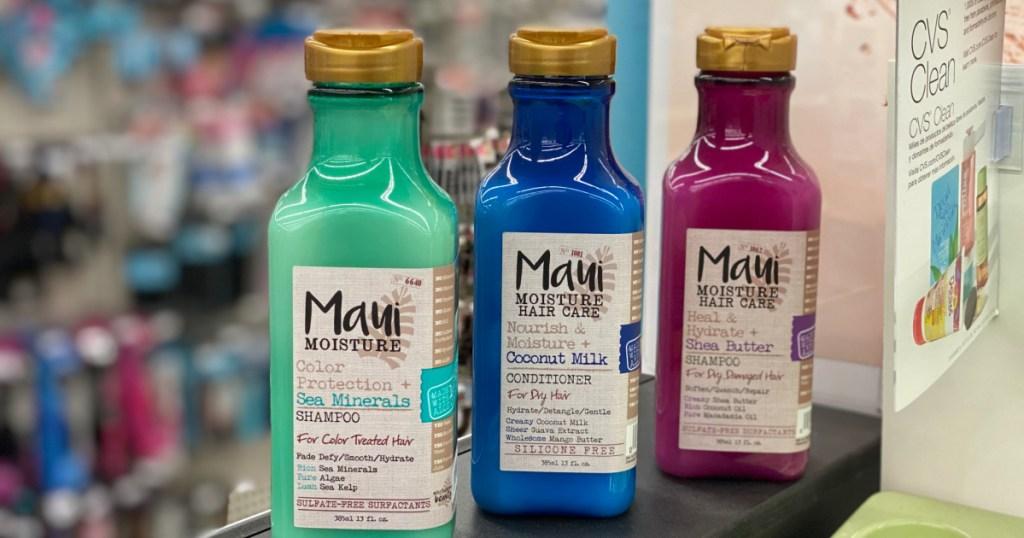three bottles of maui hair care at cvs