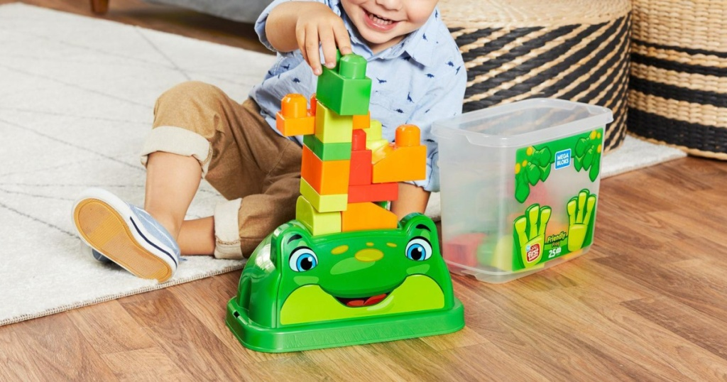 boy playing with frog building block set on living room floor