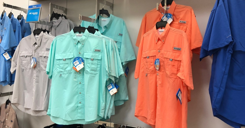 in store rack with mens columbia shirts