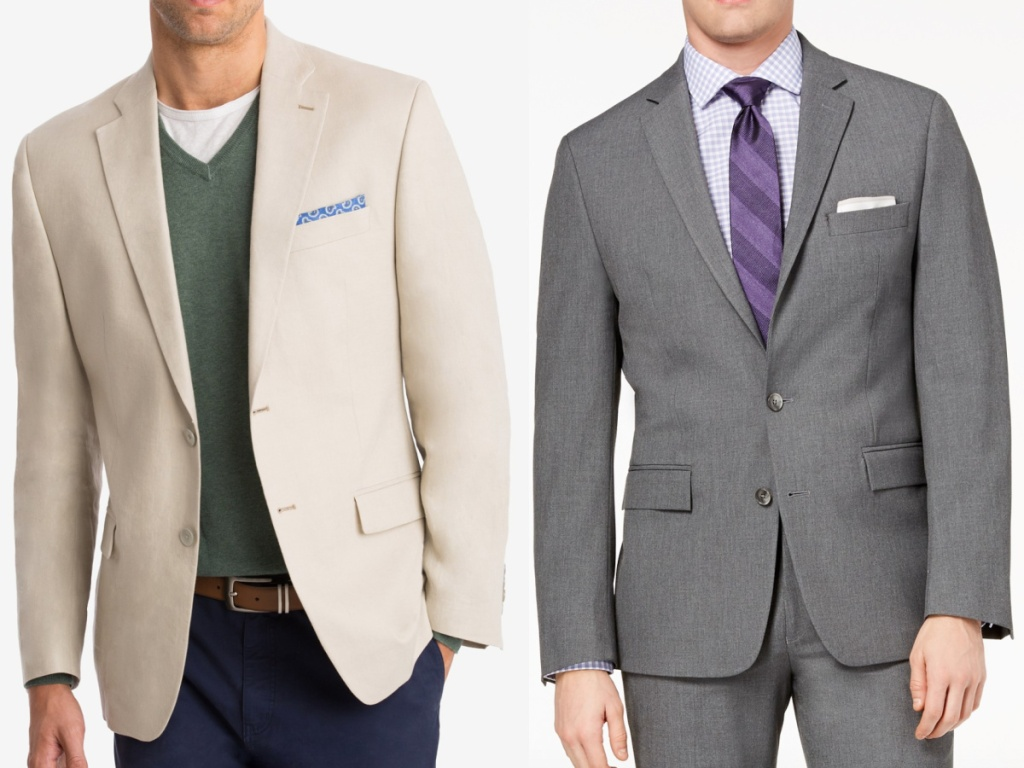 2 men wearing a tan and grey sport coat standing side by side
