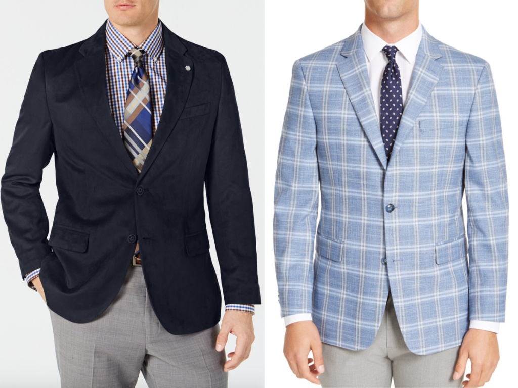 2 men wearing blue blazers standing next to each other