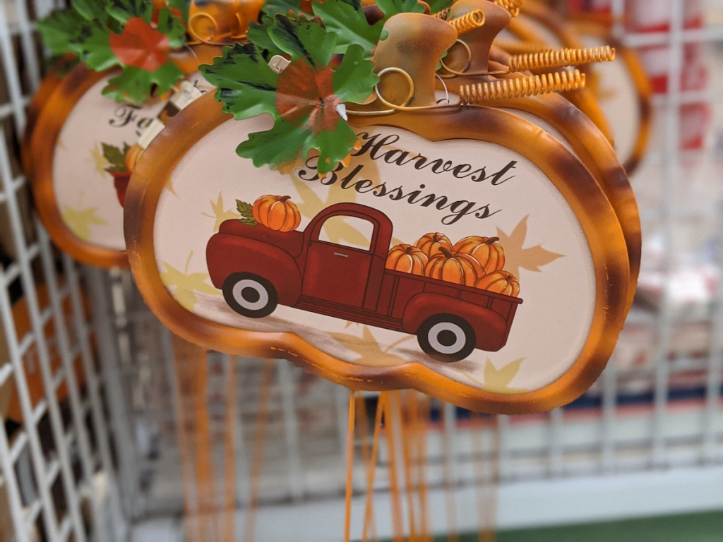 fall colored Metal Harvest Blessings Yard Sign