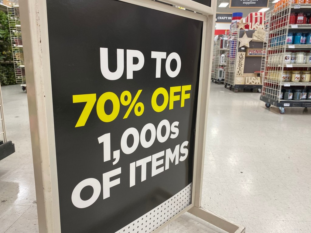 Michaels Sign showing 70% off inside store
