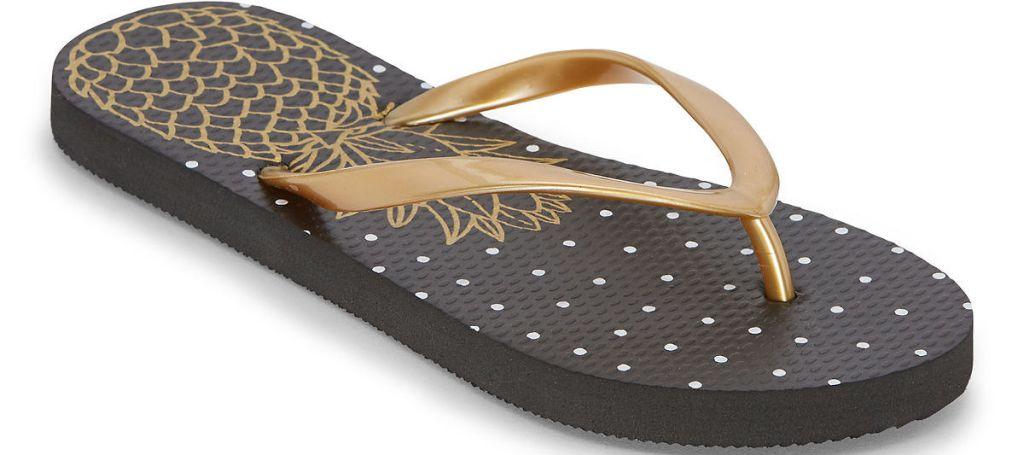 black and gold women's flip-flop sandal