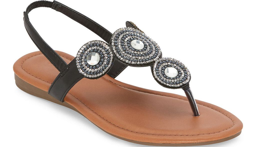 black and brown sandal with silver embellishments