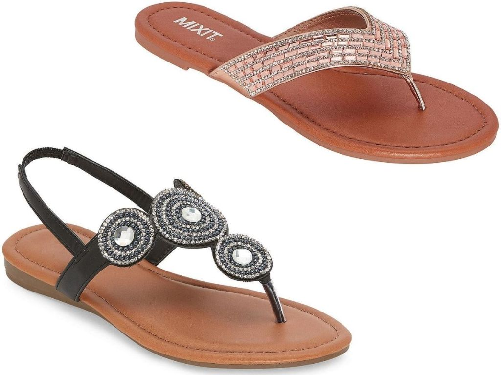 two right foot women's thong sandals