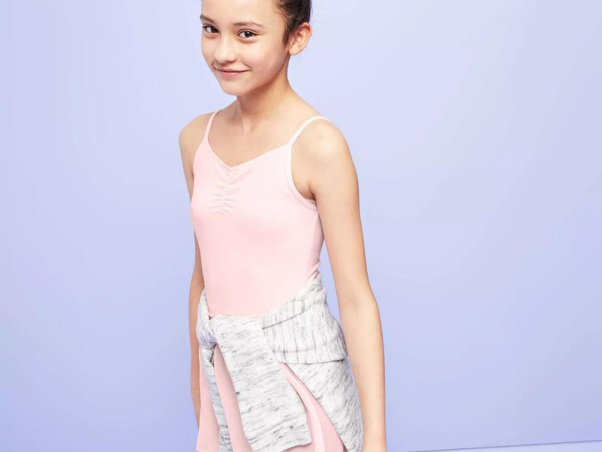 girl wearing pink More than Magic Girls Leotard