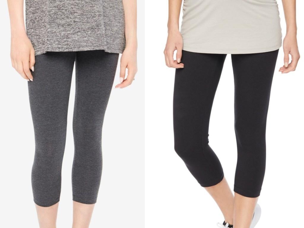 two pregnant ladies wearing dark cropped leggings
