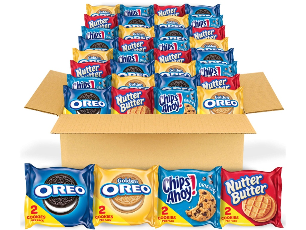 Nabisco Cookies Variety Packs in a large box