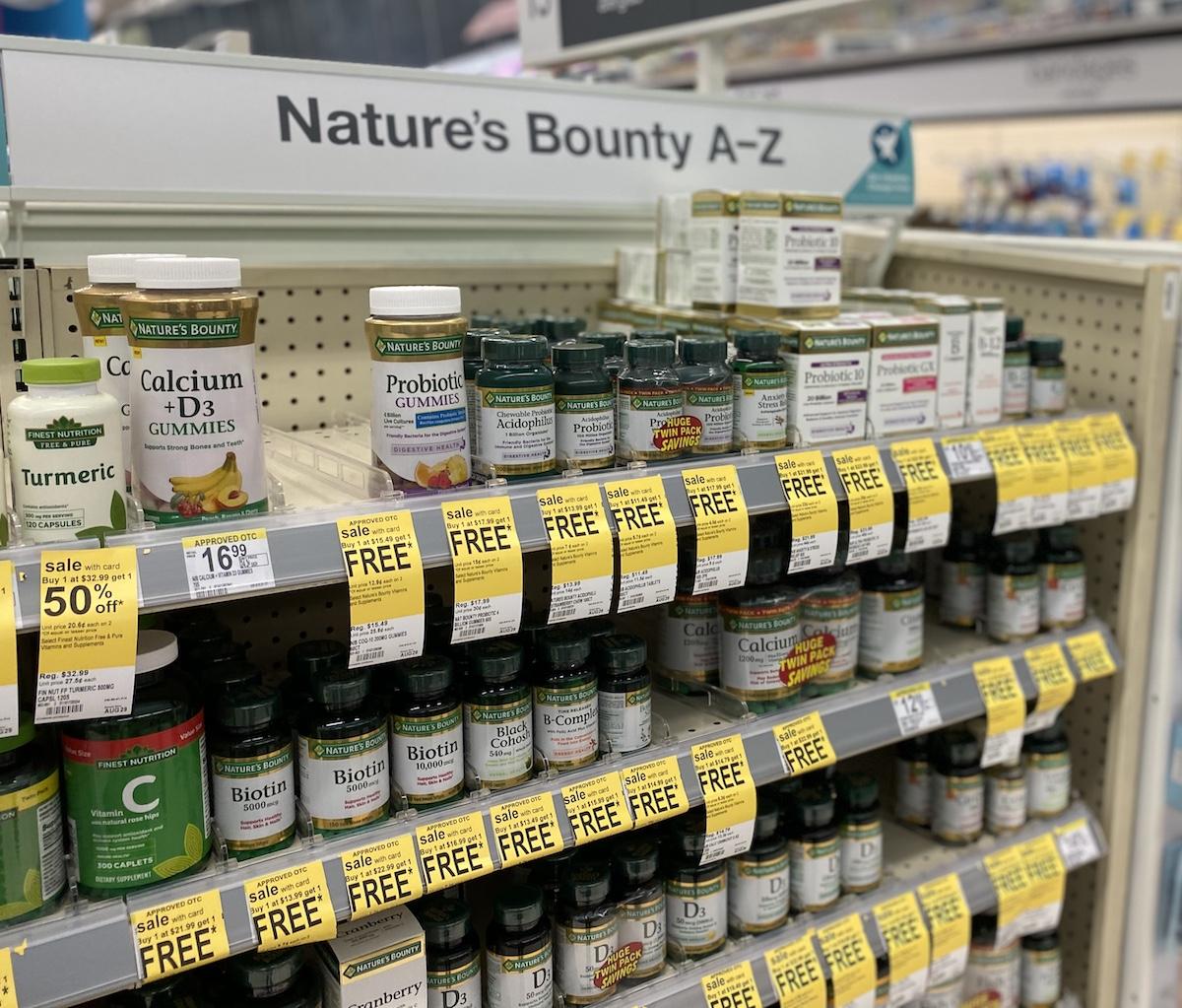 display of Nature's Bounty Vitamins at Walgreens