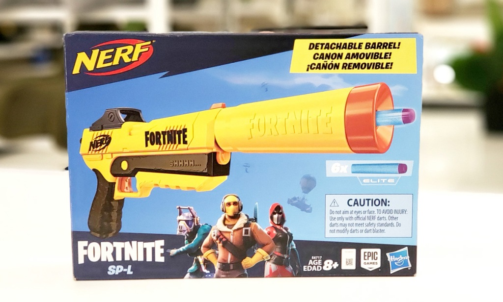 blue box for a yellow nerf fortnite themed blaster on white table