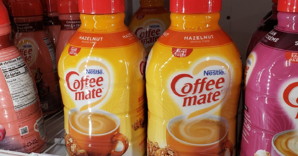 large bottles of coffee creamer in store