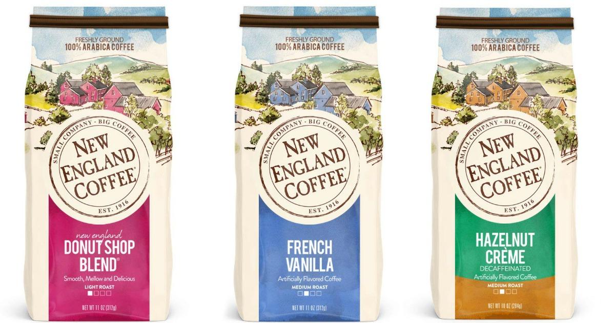 three New England Coffee bags