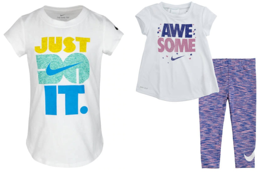 nike girls graphic t-shirt next to a top and leggings set