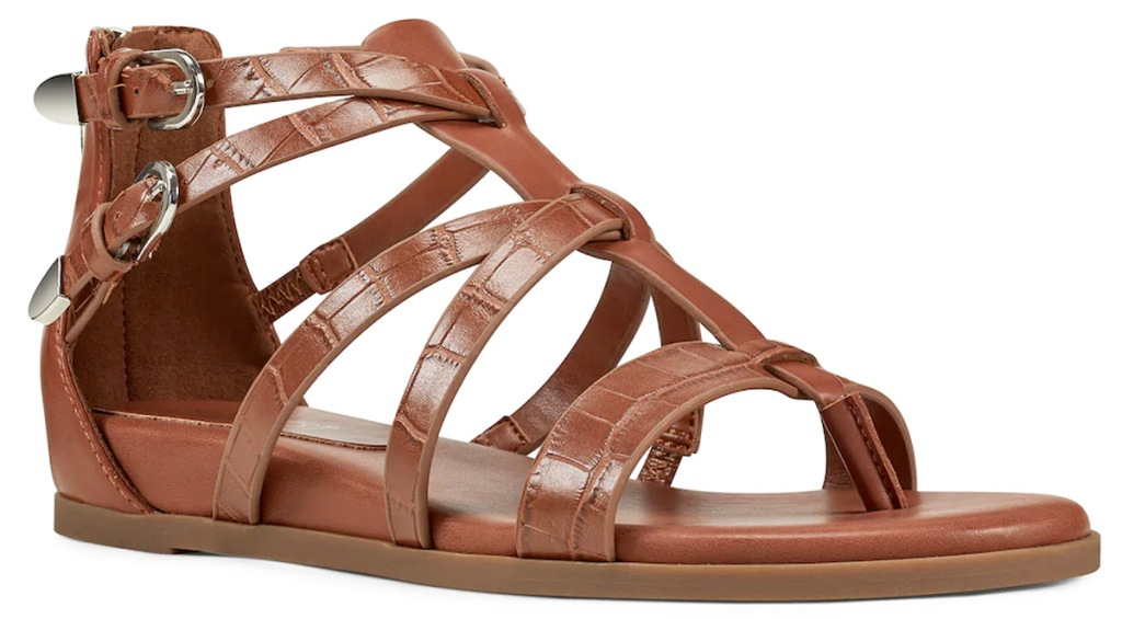 brown womens gladiator sandals with zipper at heel