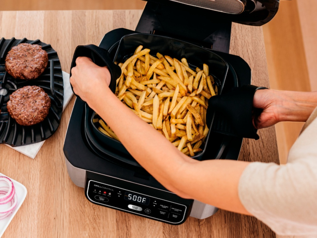 Best Air Fryer - french fries in a Ninja Foodi Pro 5-in-1 Indoor Grill and Air Fryer