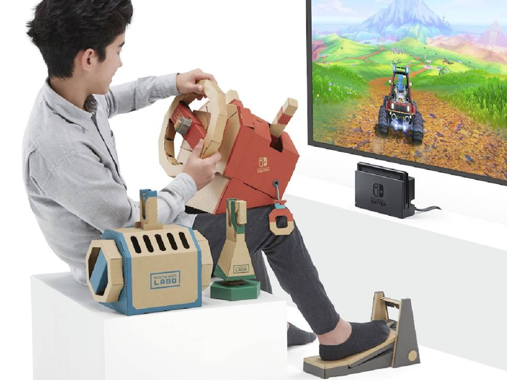 kid playing with a Nintendo Labo Toy-Con Vehicle Kit