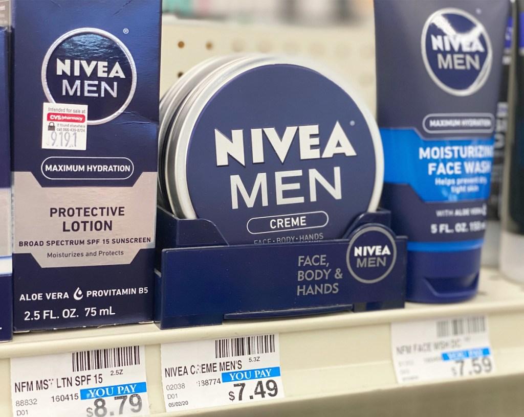 Nivea Men face and body creme tin on CVS store shelf