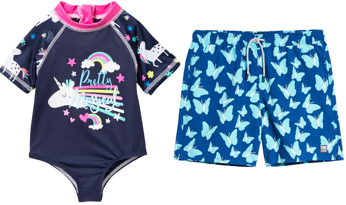 girls one-navy blue swimsuit with unicorn graphic and bows swim trunks with blue butterflies