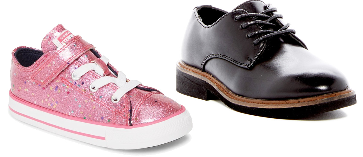 pink glittery girls sneaker with laces and velcro strap and boys black leather dress shoe