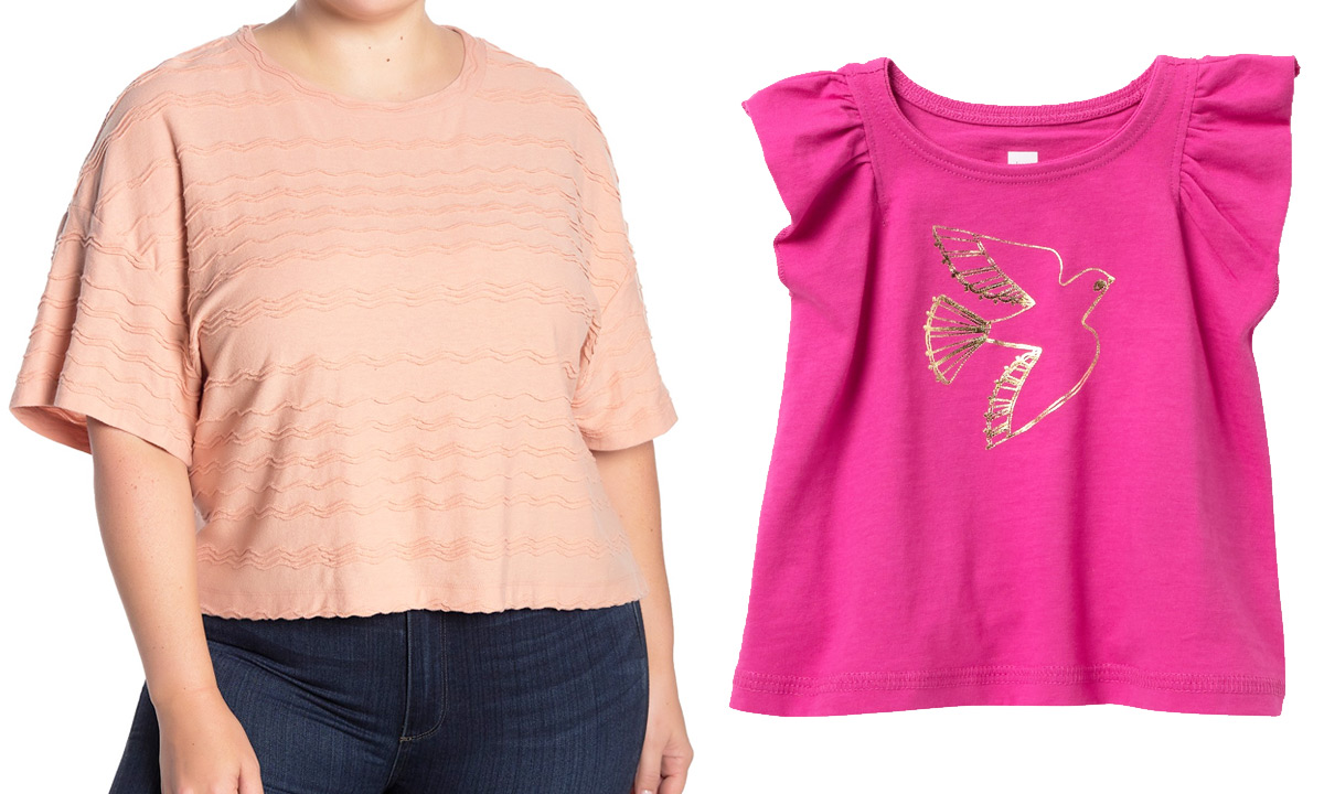 woman wearing a coral colored textured top with flutter sleeves and a pink girls graphic tee with gold bird on it