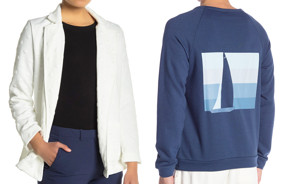 woman wearing black top and white jacket with dots on it and man wearing blue sweatshirt with sailboat graphic on back