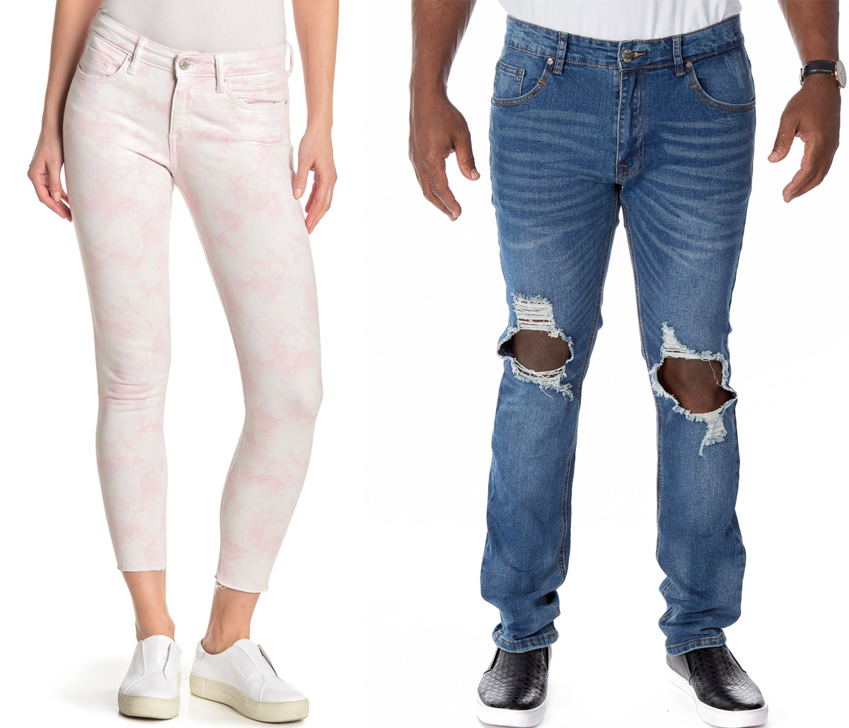woman wearing light pink and white jeans and man wearing distressed denim jeans with knee holes