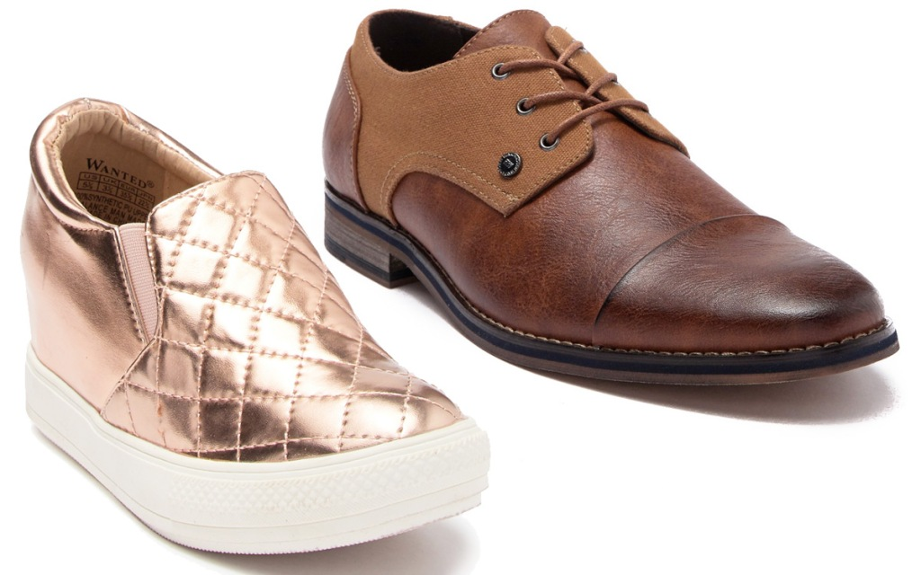 metallic rose gold quilted womens sneaker and brown leather mens dress shoe