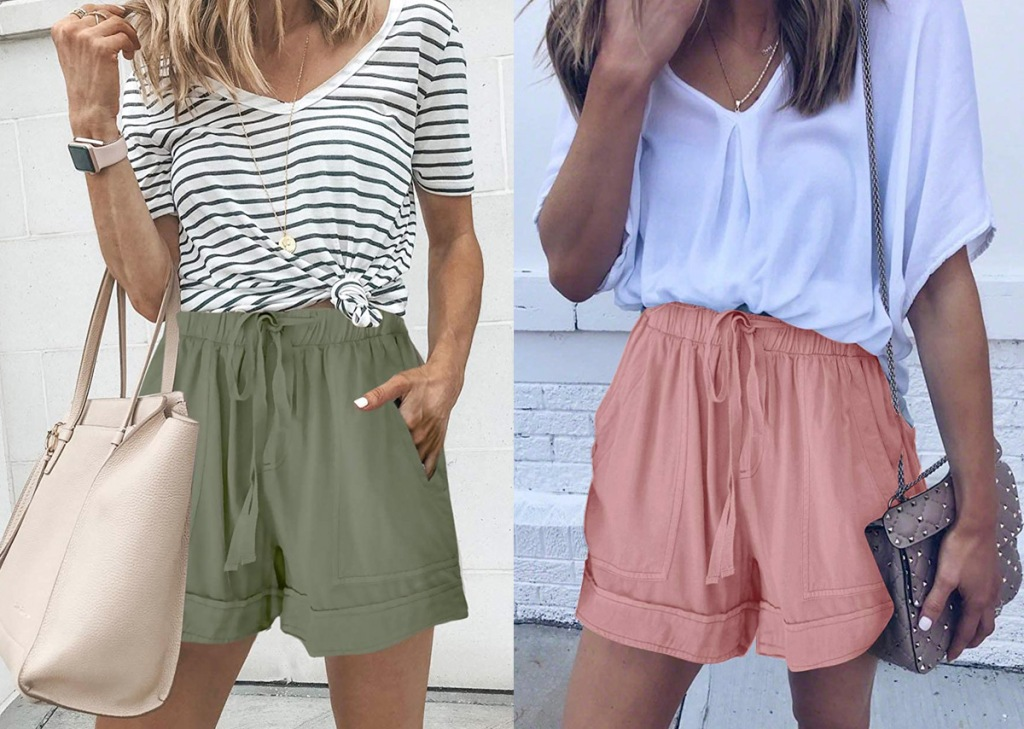 two women modeling loose fitting flowy shorts in olive green and blush pink colors