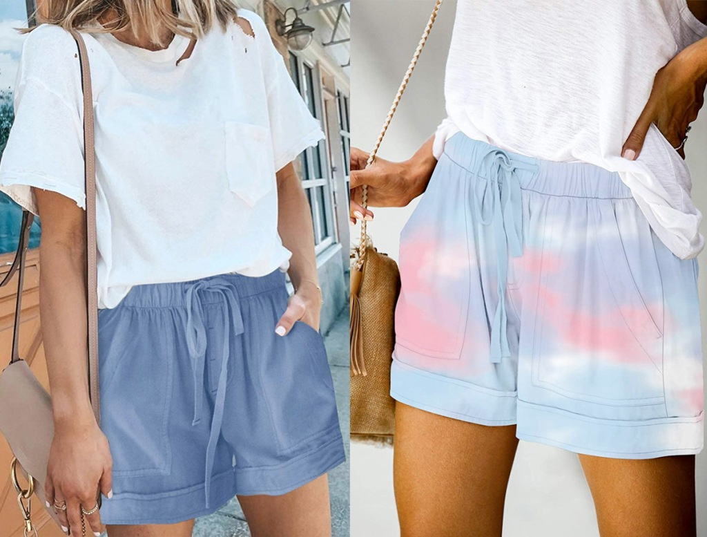 two women modeling loose fitting flowy shorts in blue and pink and blue tie dye colors