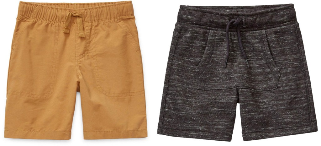 two pairs of toddler boys shorts in brown and black colors