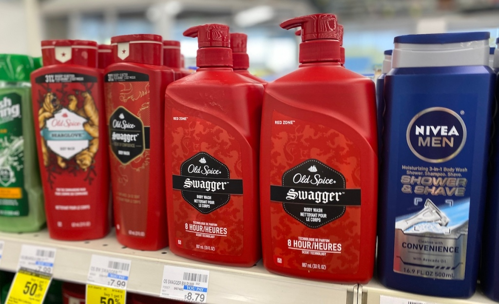 Old Spice and Nivea products on shelf at CVS