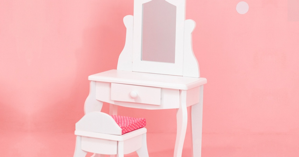 white doll vanity and stool set