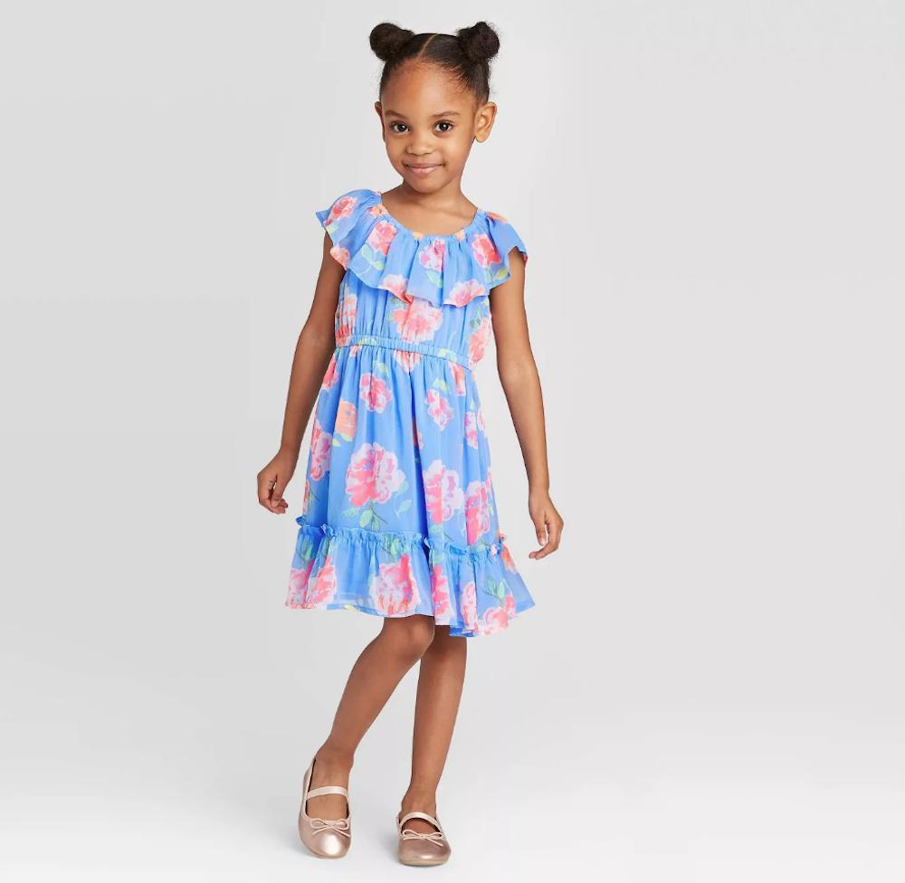 girl wearing OshKosh Floral Dress