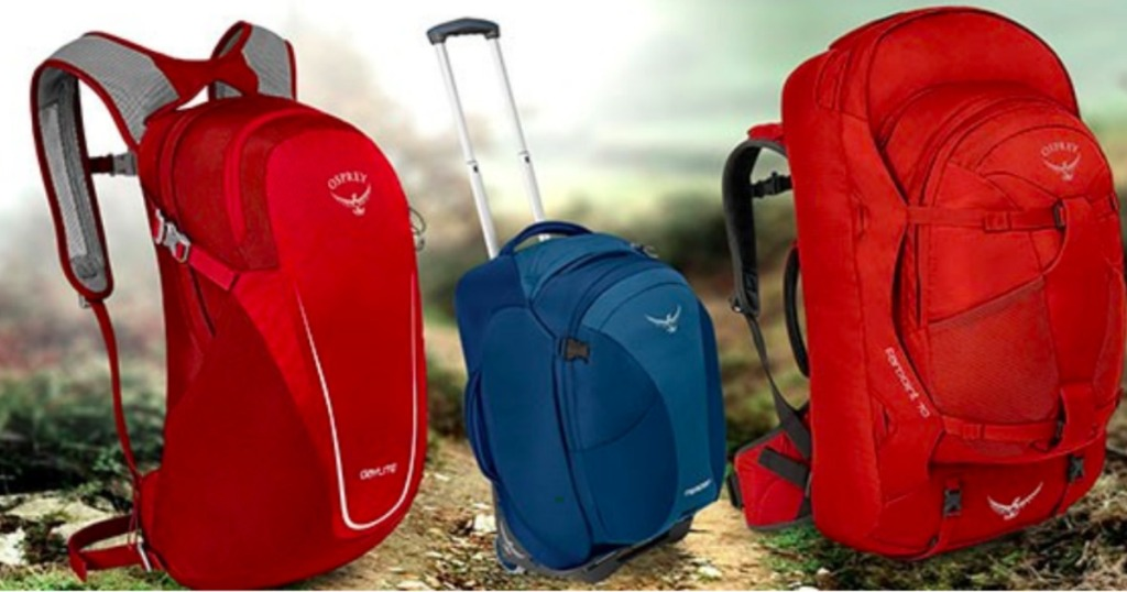 osprey backpacks in red and blue