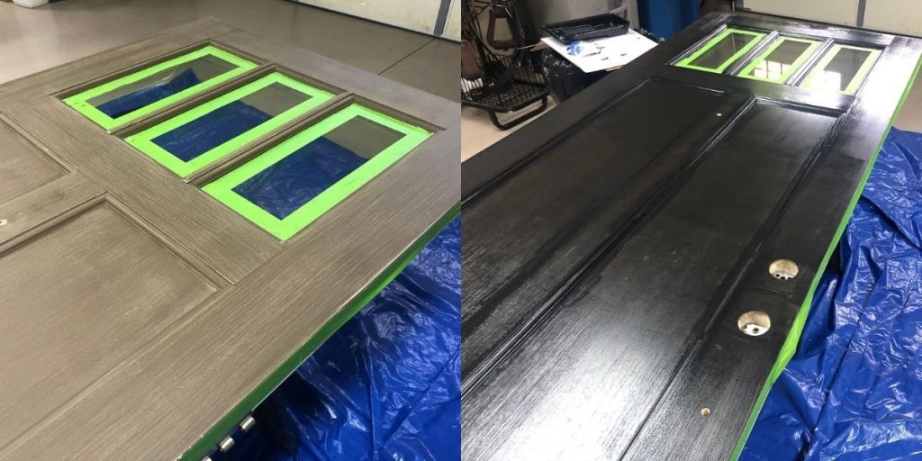 Before and after images of a door being painted black