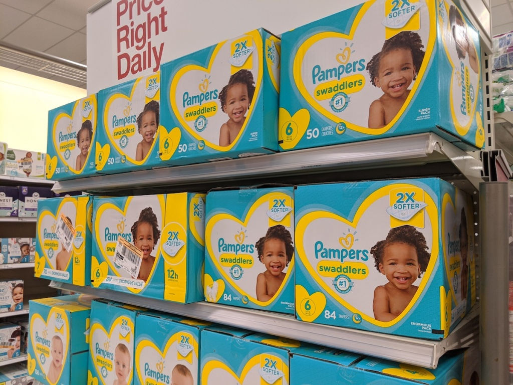 pile of pampers swaddlers in target