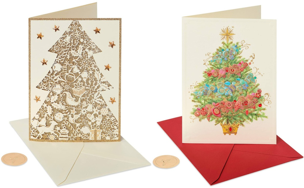 Papyrus Holiday Cards with sparkly Christmas Trees