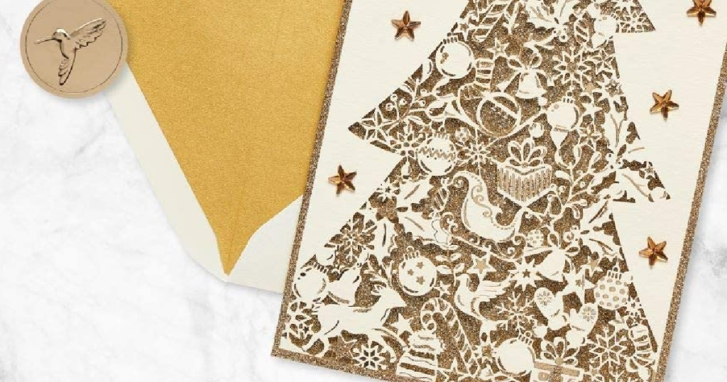 Papyrus Christmas Cards Boxed, Gold Glitter Holiday Christmas Tre