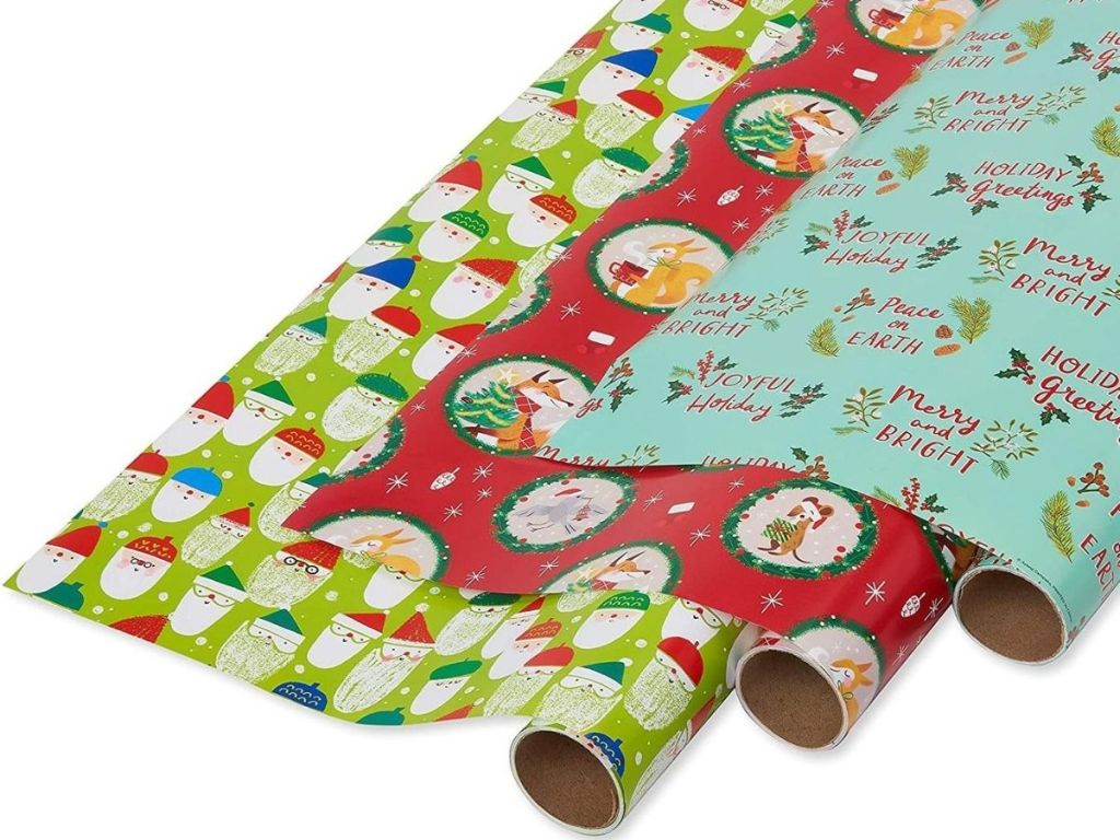 three rolls of wrapping paper