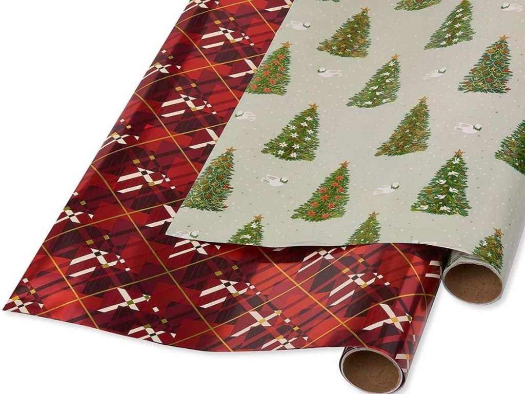 two rolls of wrapping paper
