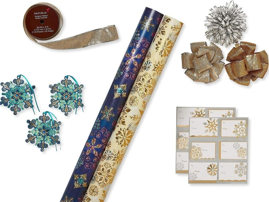 11-piece wrappingapper set with two rolls of wrapping paper, bowls, gift tags and snowflake decorations