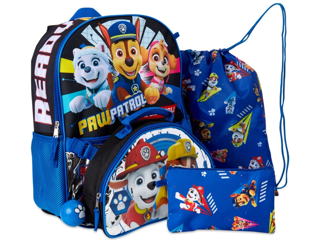 stock image of backpack set with paw patrol characters