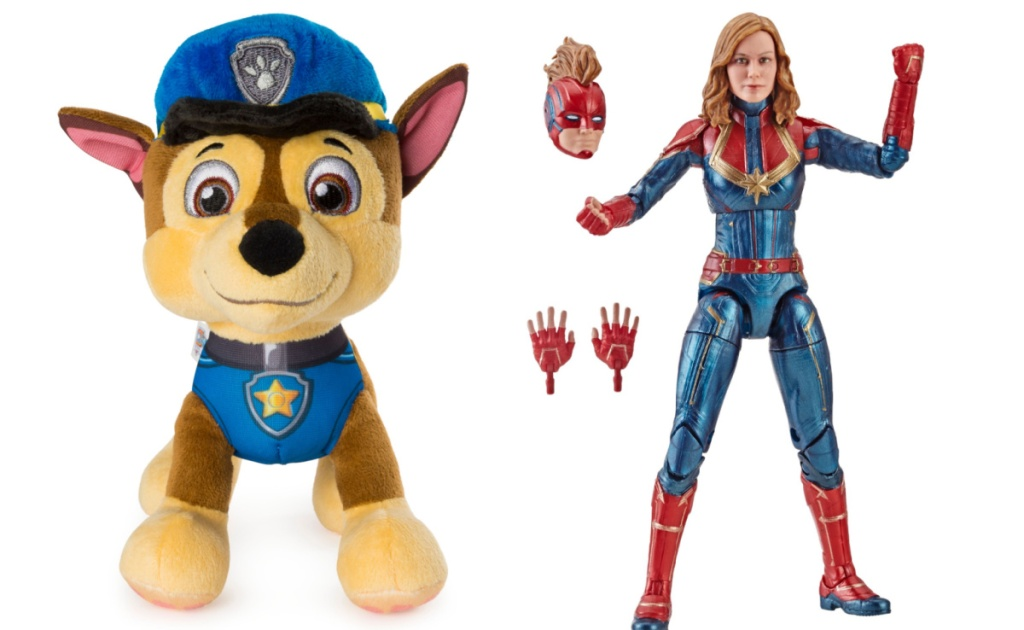 Paw Patrol Plush and Captain Marvel action figure