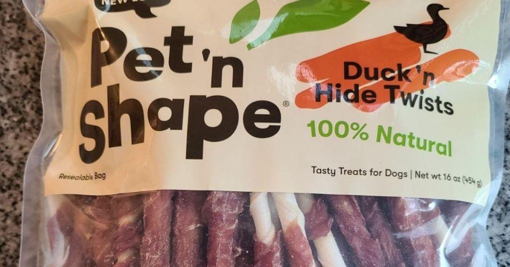 Pet n Shape Twists dog treats in a bag