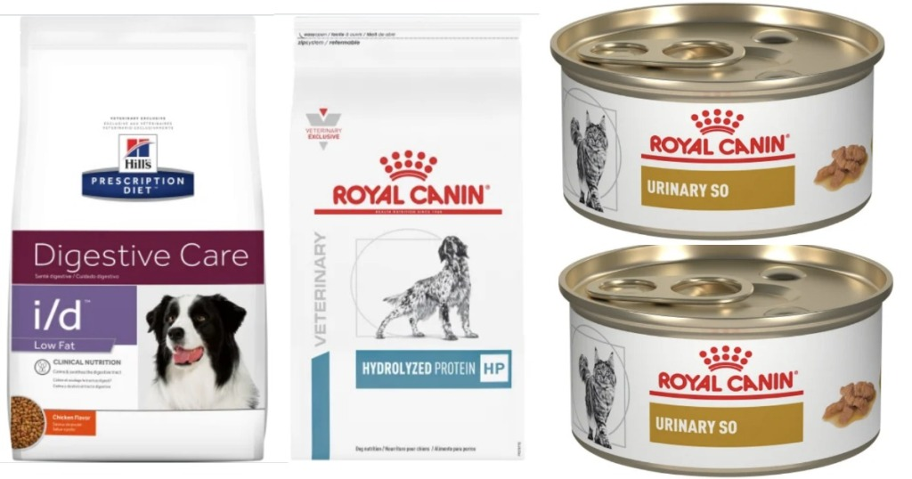 Bags of dog and cat food from Royal Canin and Hills