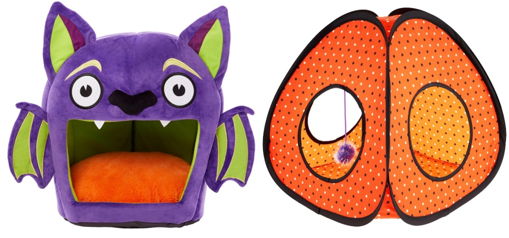 purple bat shaped cat bed and orange polka dot pop up cat tend with hanging toy