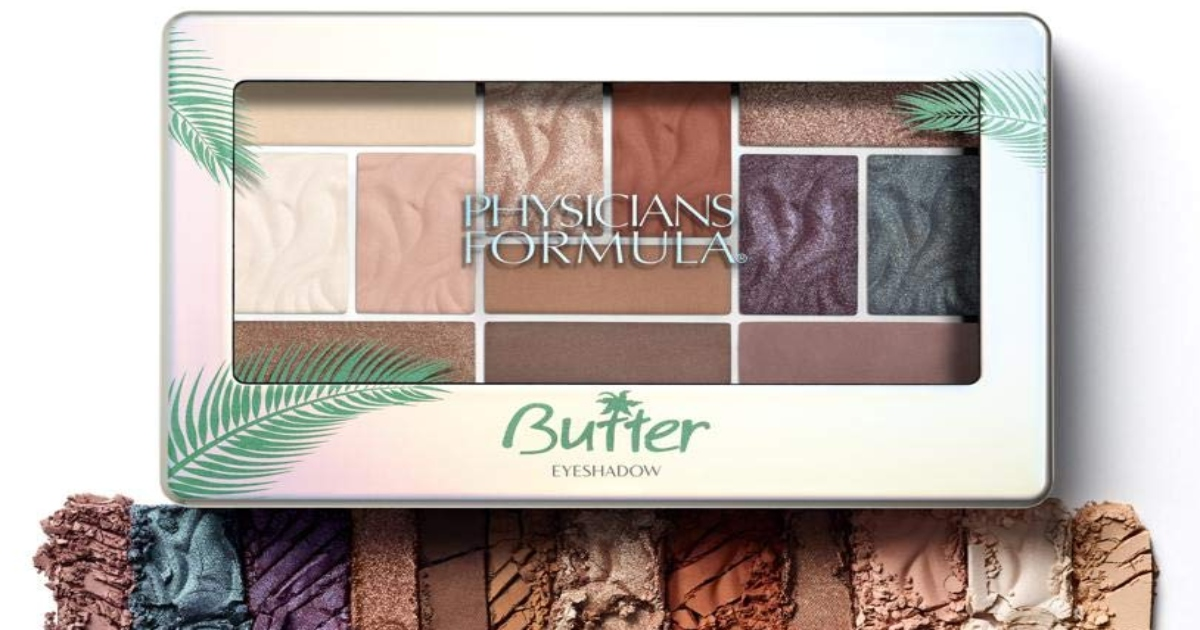 Physicians formula butter eyeshadow kit with example of colors out of the case just below